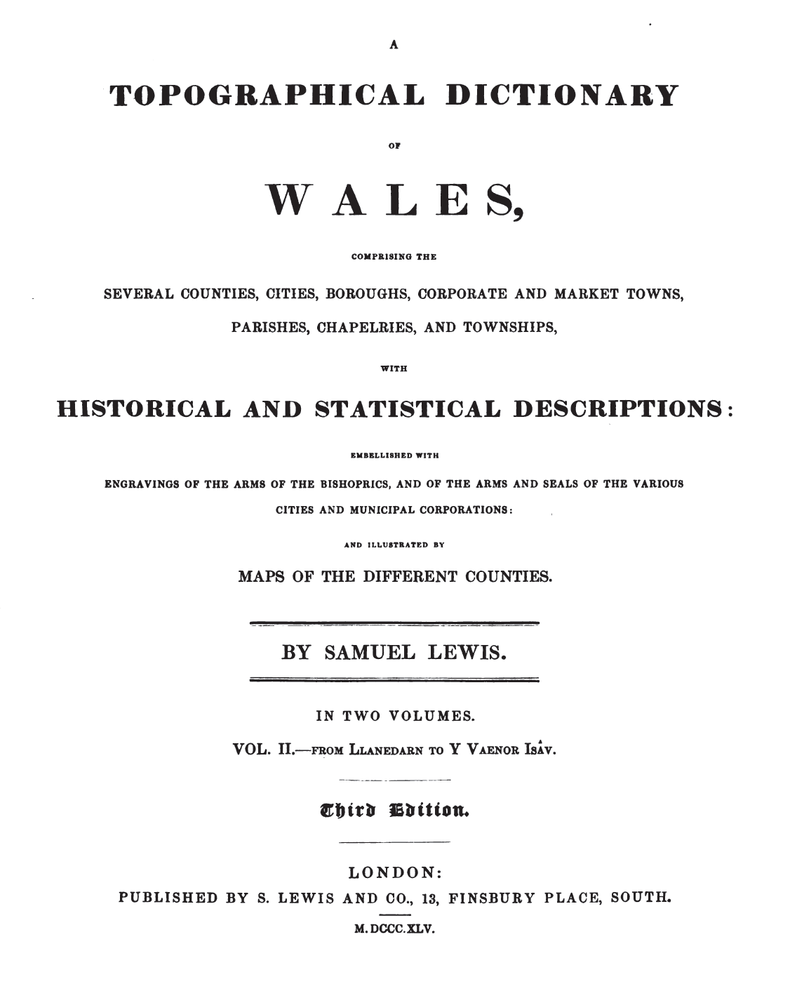 Filea Topographical Dictionary Of Wales Vol Ii Title Pageg