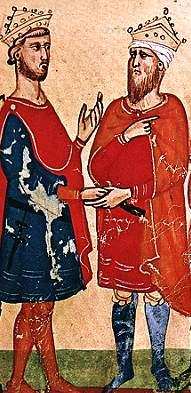 Frederick II (left) meets Al-Kamil (right). Nuova Cronica, c. 1348.