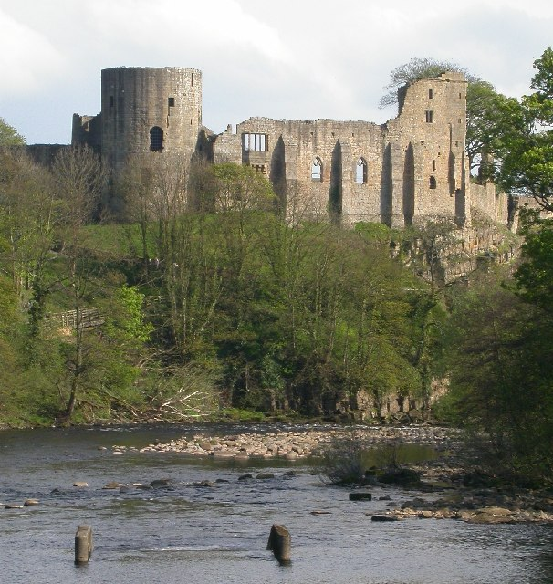 Barnard Castle viewed from the far side of the river Tees