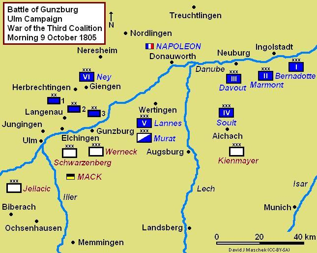 Battle of Gunzburg Campaign Map, situation morning 9 October 1805 Battle of Gunzburg 1805 Campaign Map.JPG