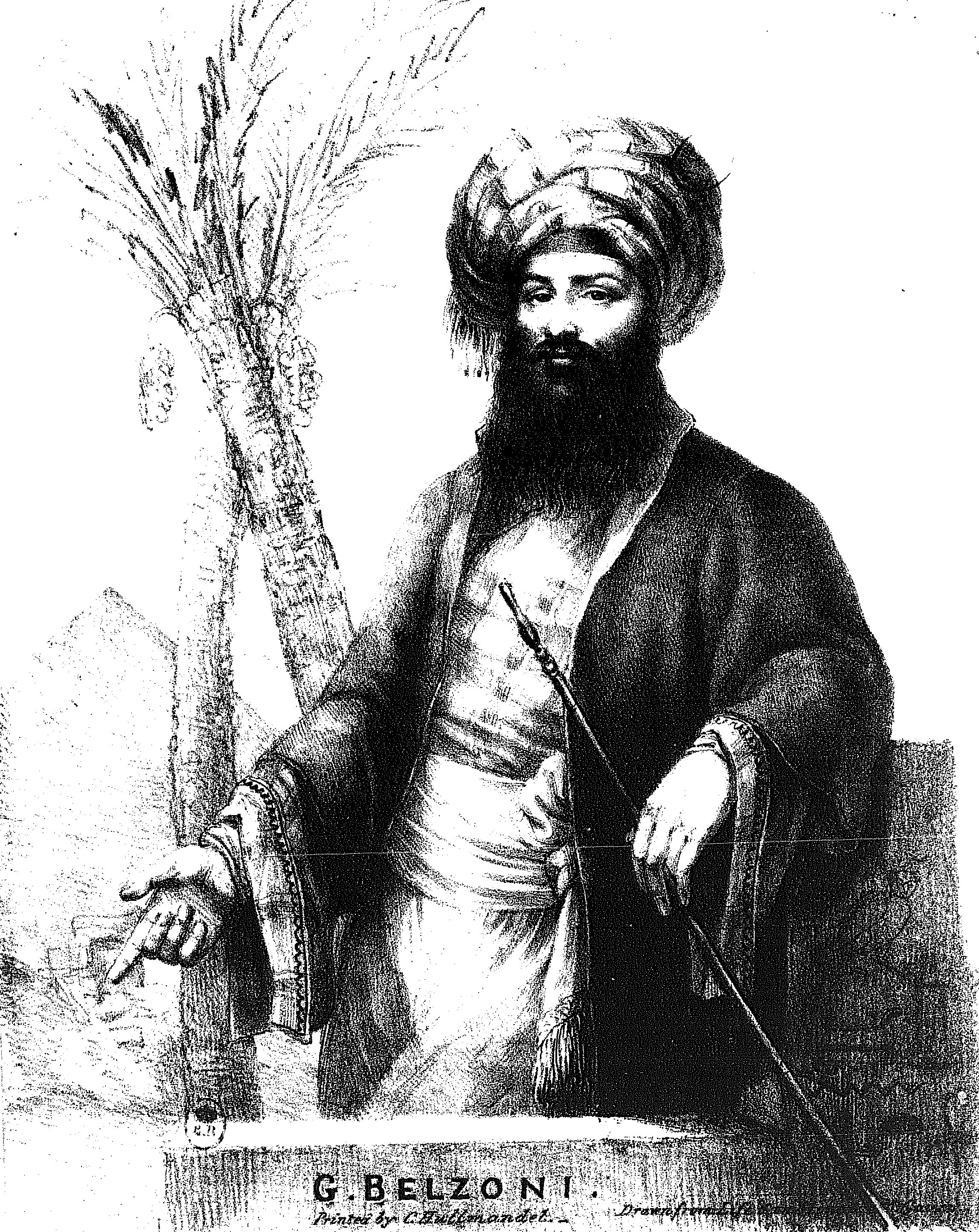 Giovanni Battista Belzoni<ref>from his publication ''[https://archive.org/details/narrativeofopera00belz/page/n10 Narrative of the Operations and Recent Discoveries Within the Pyramids, Temples, Tombs and Excavations in Egypt and Nubia]'', London, 1820.</ref>