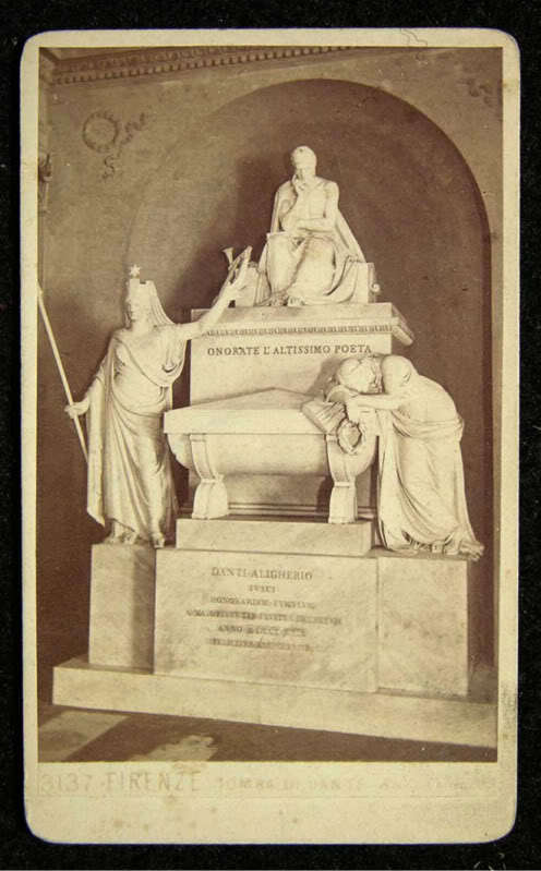 The cenotaph of Dante, located in Santa Croce in Florence, Italy, by Giacomo Brogi. (Public Domain)