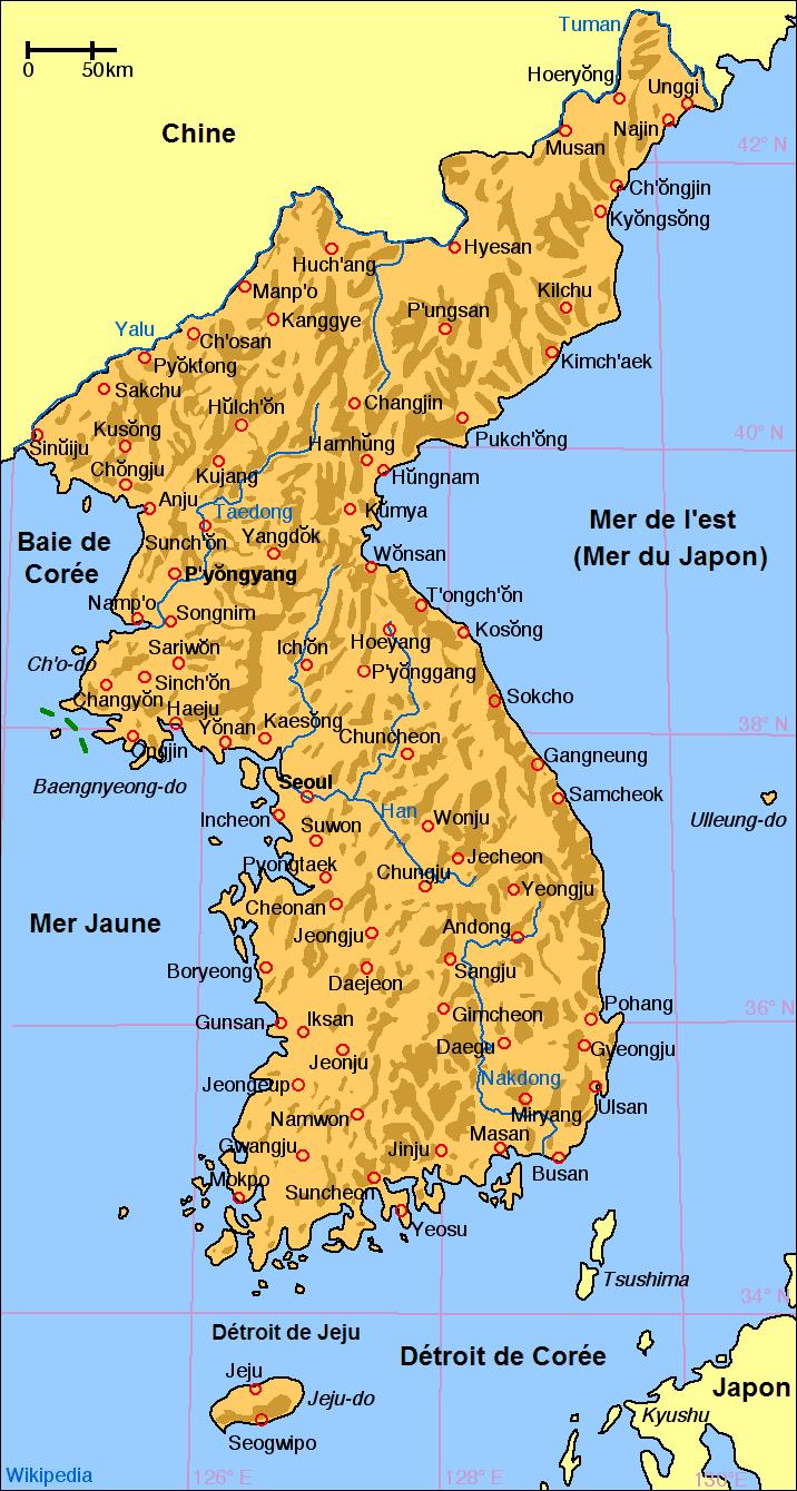carte de la corée File:Carte de Coree.png   Wikimedia Commons