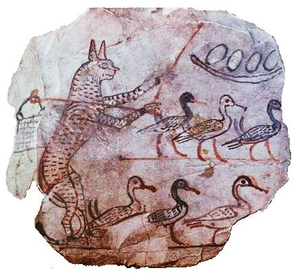 Satirical ostracon showing a cat guarding geese, c.1120 BC, Egypt. Cat guarding geese c1120 BC Egypt.jpg