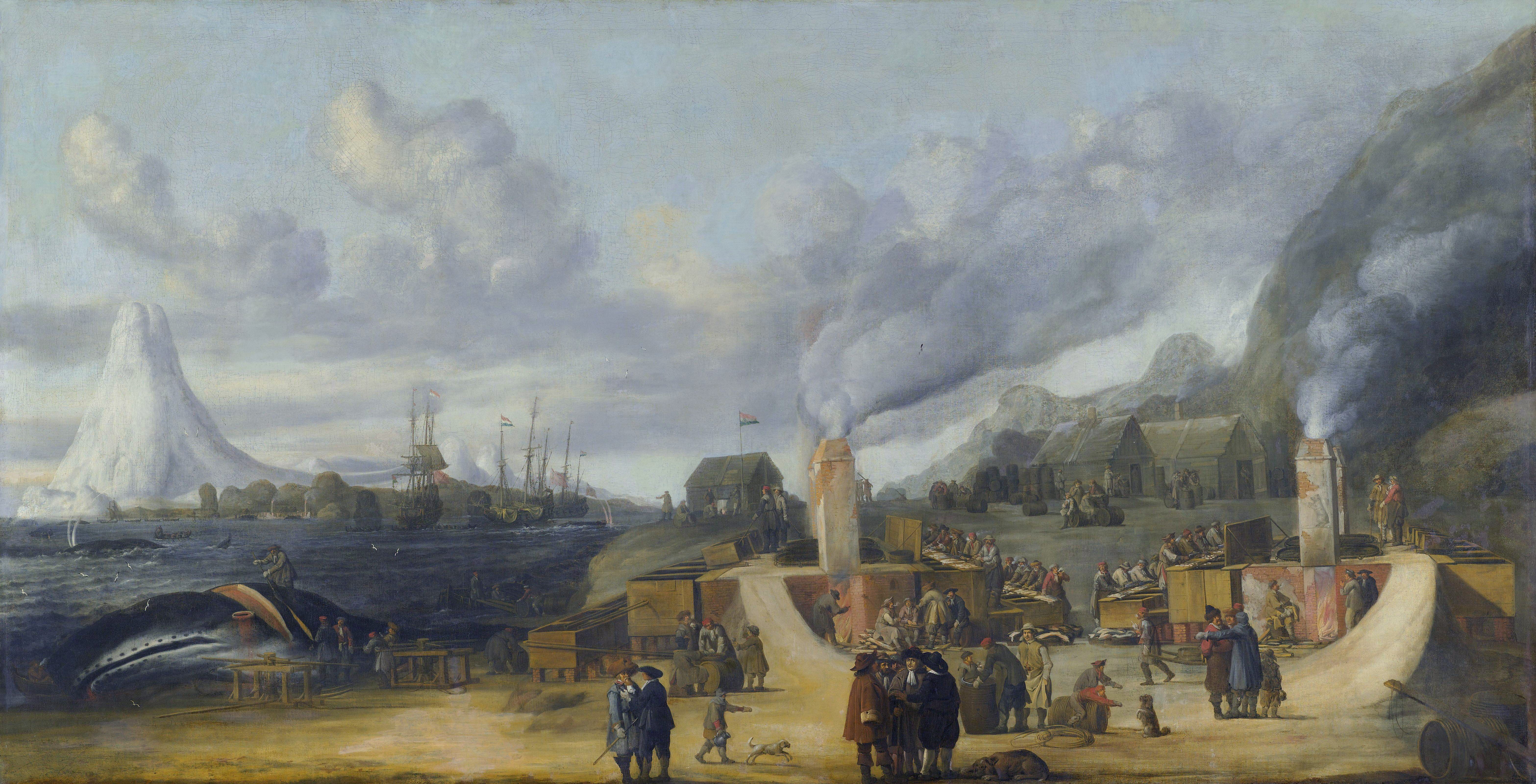 The whale train oil cookery of the Amsterdam chamber of the Northern Company at Smeerenburg; painting by Cornelis de Man (1639)