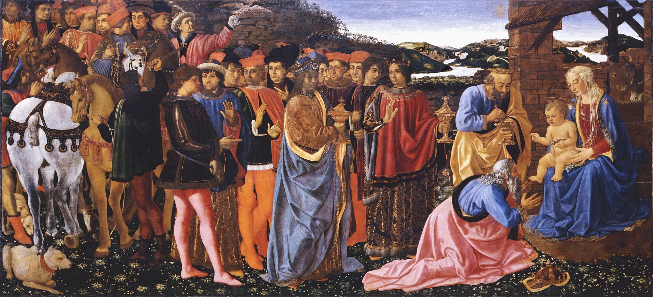 File:Cosimo Rosselli Adorazione dei Magi c. 1470, 101 x 217cm Galleria degli