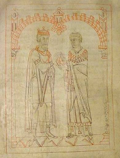 "Miro, king of Galicia, and Martin of Braga, from an 1145 manuscript of Martin's Formula Vitae Honestae, now in the Austrian National Library. The book was originally dedicated to King Miro with the header ""To King Miro, the most glorious and calm, the pious, distinguished for his Catholic faith"" Cvp-00791-109v.jpg"