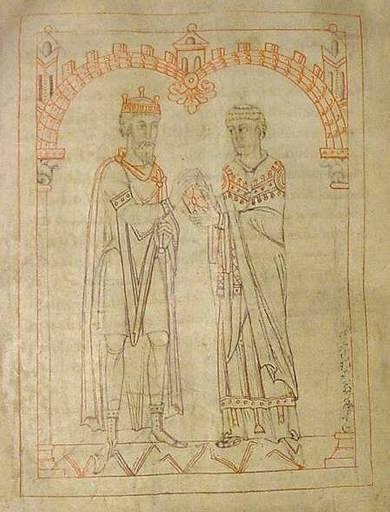 Miniatura medieval que representa a Martinus Braccarensis con Miro.