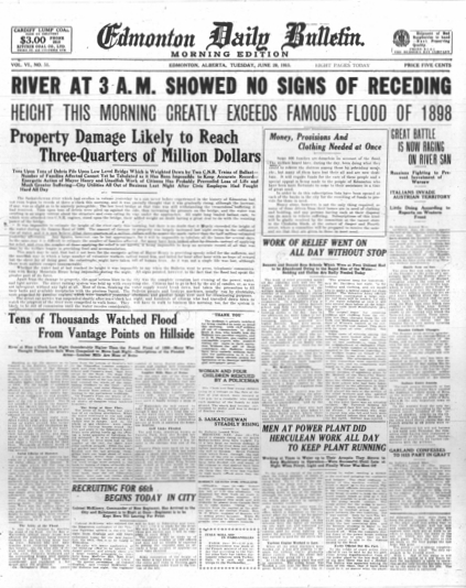 Edmonton daily bulletin 1915 flood cover