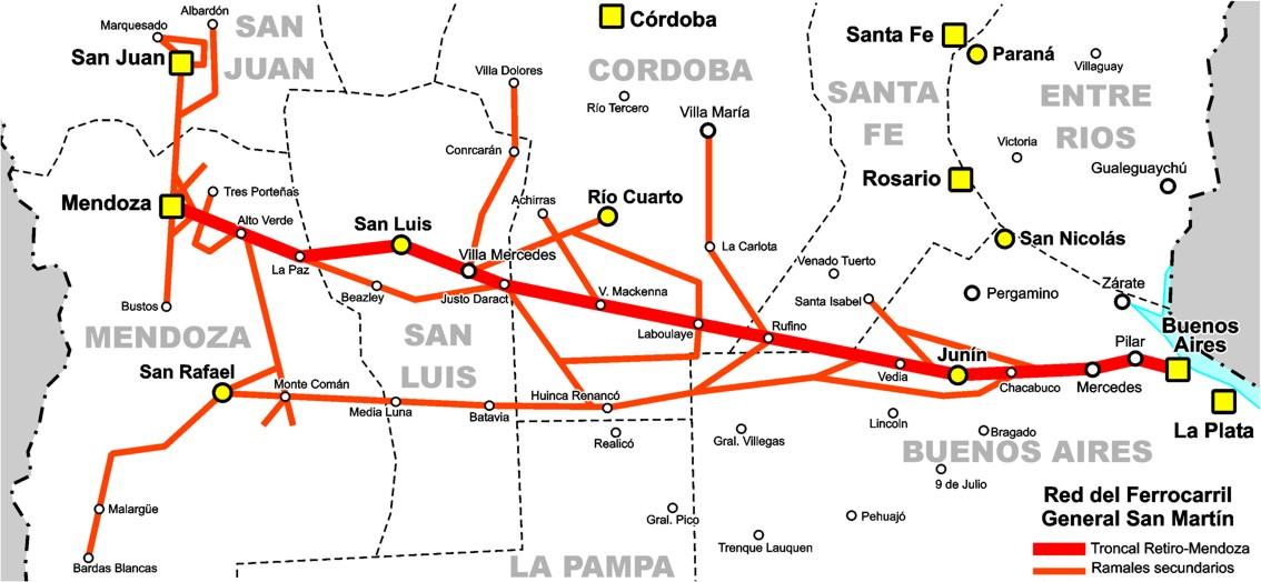 Resultado de imagen para ferrocarril san martin + Buenos Aires con Mendoza.