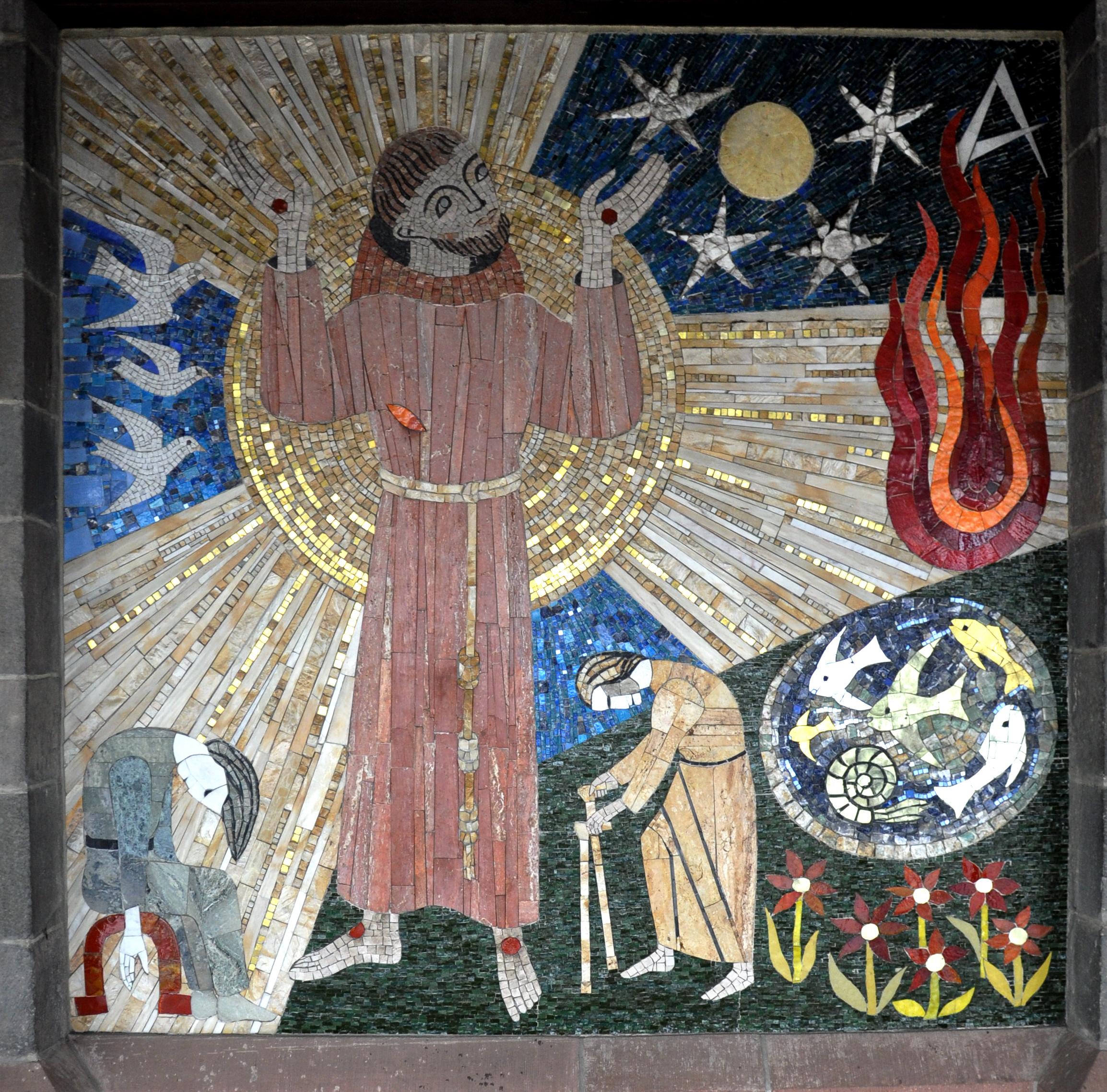 Frankfurt Liebfrauenkirche Innenhof Franziskus-Mosaik.jpg