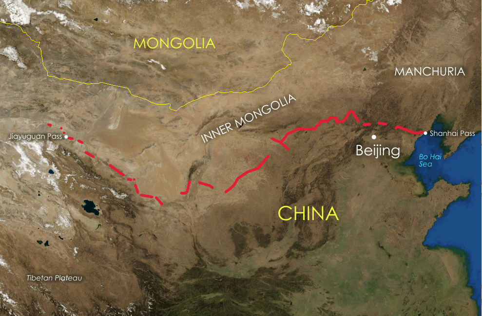 Map of the great wall in China,  Ref. Internet