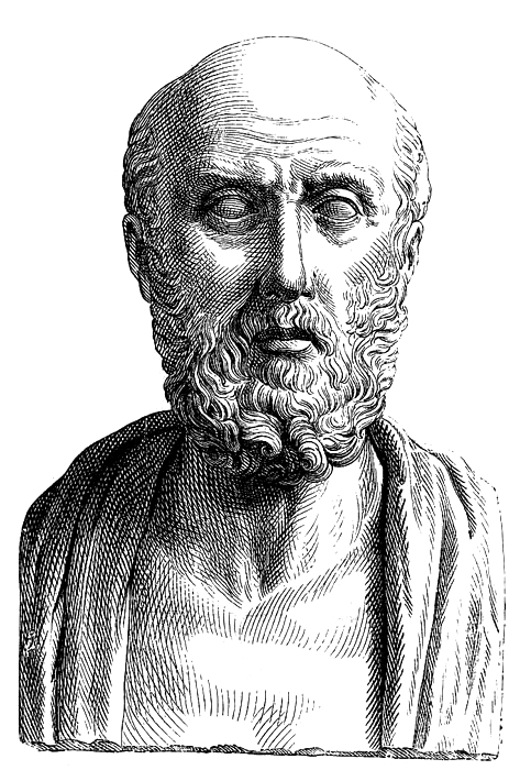 "A conventionalized image in a Roman ""portrait"" bust (19th-century engraving)"