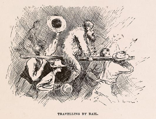 "Illustration from The Adventures of Huckleberry Finn, 1884 edition - the King, ""Travelling by Rail"" - Wikimedia"