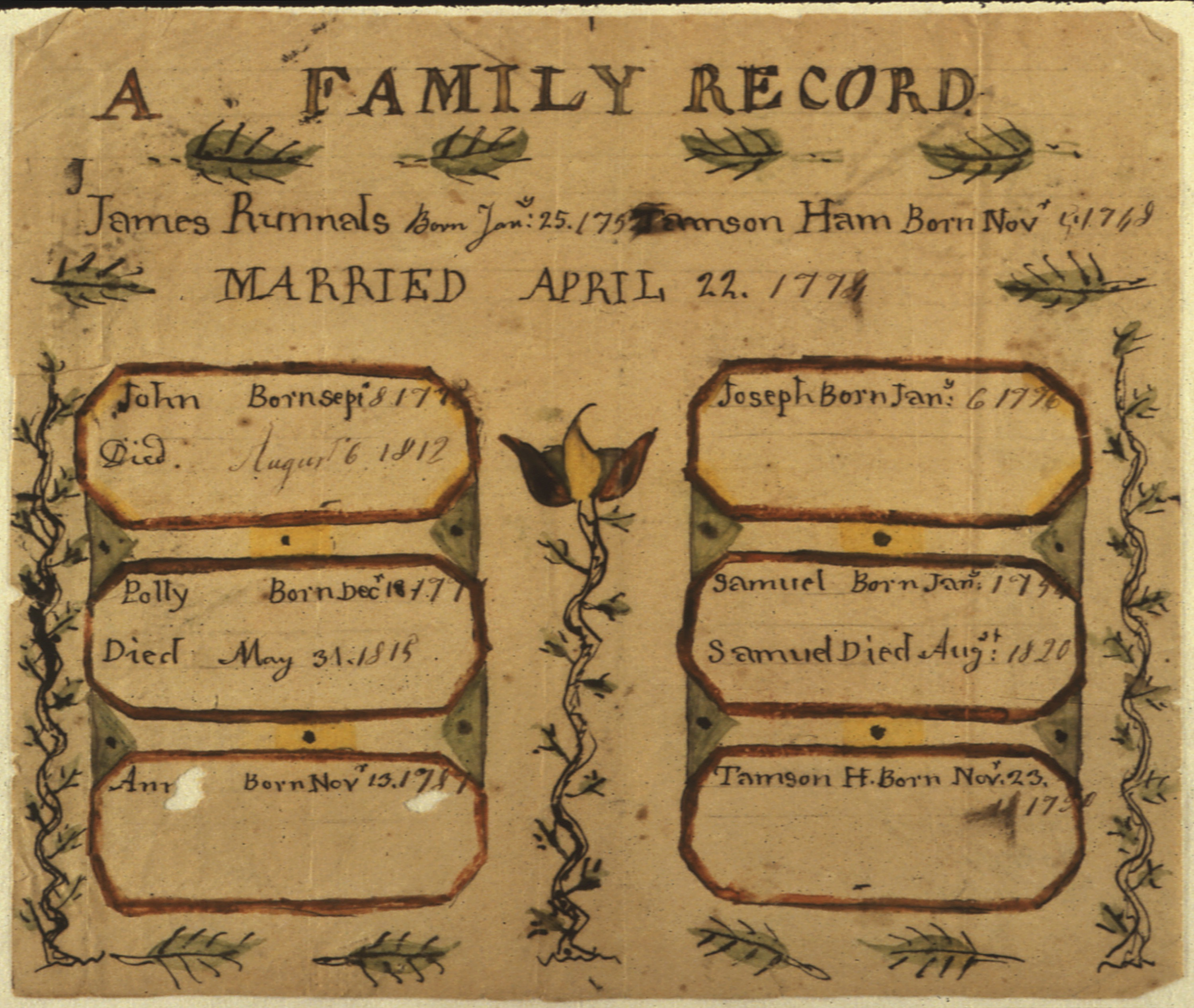File:Illustrated family record (Fraktur) found in Revolutionary War Pension  and Bounty-