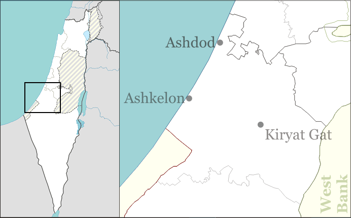 Map of Modern Ashdod and Gat