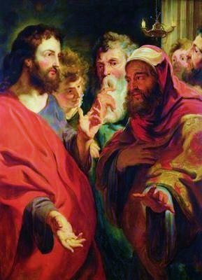 Jesus, on the left, instructing Nicodemus, on ...