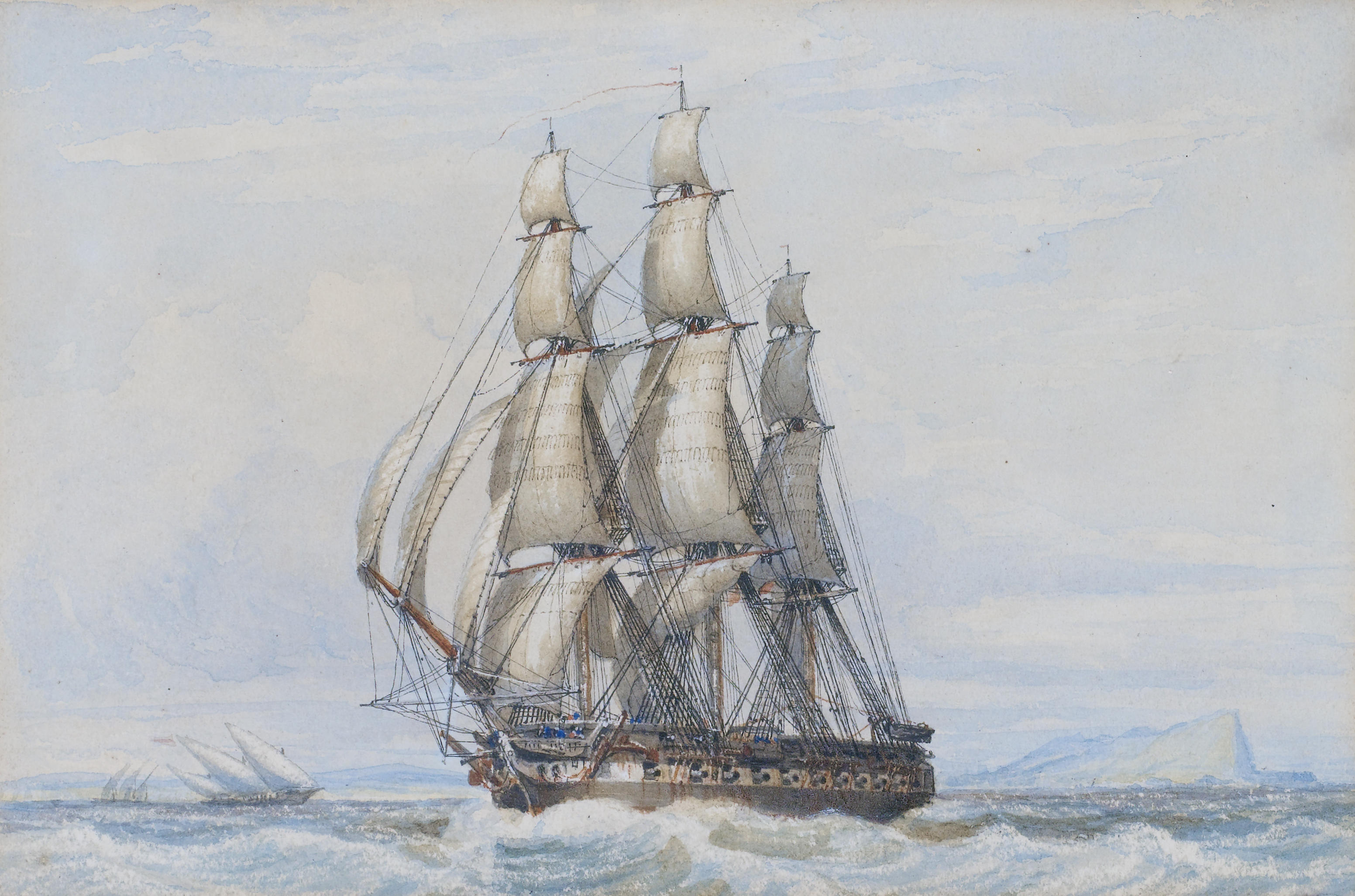 Stuttgarter Zeitung John_Ward_of_Hull_-_A_large_frigate_under_full_sail_beating_across_the_bay_at_Gibraltar...etc