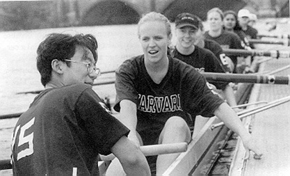 Kennedy School women's team outside the Weld Boathouse preparing to row the Head of the Charles KSG 1996 women.png