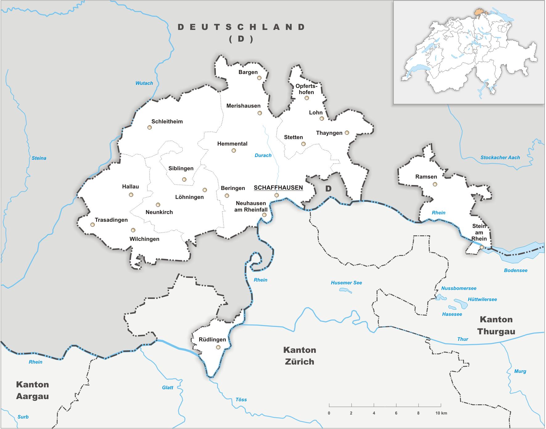 karte schaffhausen deutschland Canton of Schaffhausen   Wikipedia