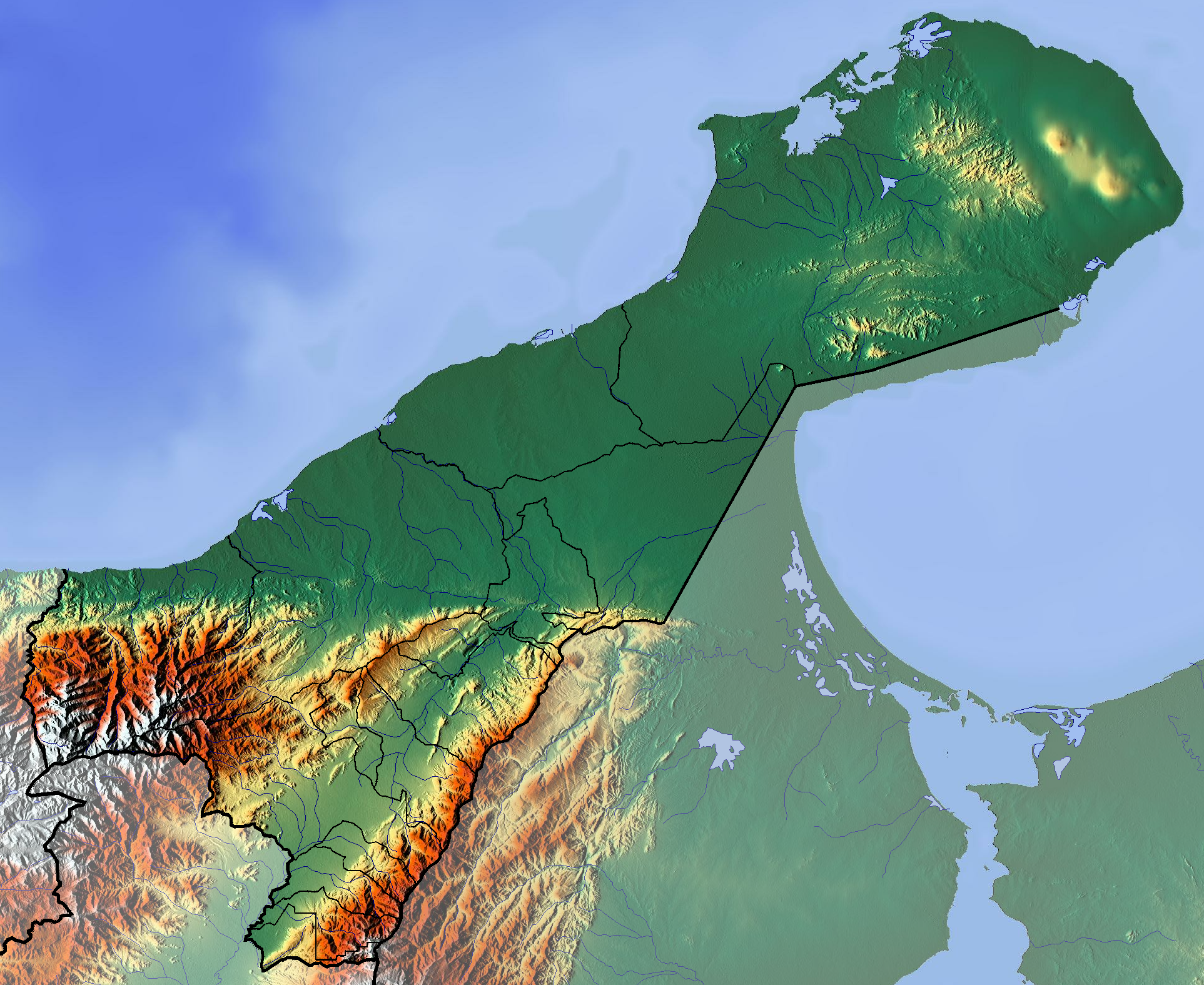 Topographic map of La Guajira (source: Wikimedia)