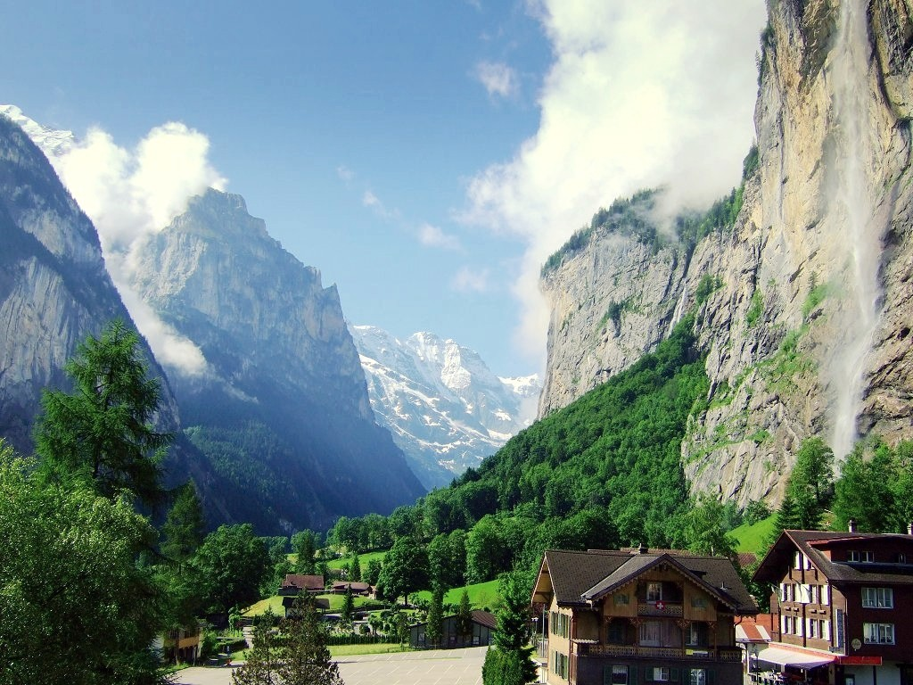 Lauterbrunnen valley in summer