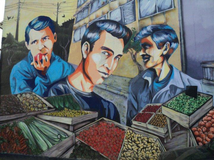 Grabado mural de Los Prisioneros hecho para el Museo a Cielo Abierto en San Miguel.