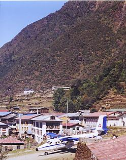 Looking across the township of Lukla, with the air strip of Lukla Airport in the foreground