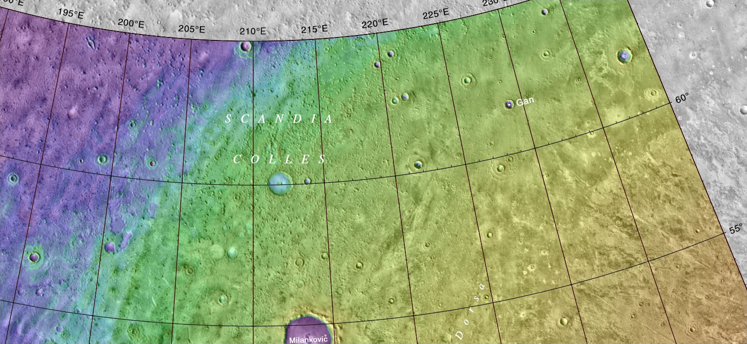 Map showing the location of Milankovic Crater
