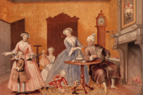 In this painting by Archduchess Marie Christine, Duchess of Teschen we see (left to right): Archduchess Marie-Christine, Archduke Ferdinand, Archduchess Marie-Antoinette, Archduke Maximilian, Empress Maria Theresa and Francis I