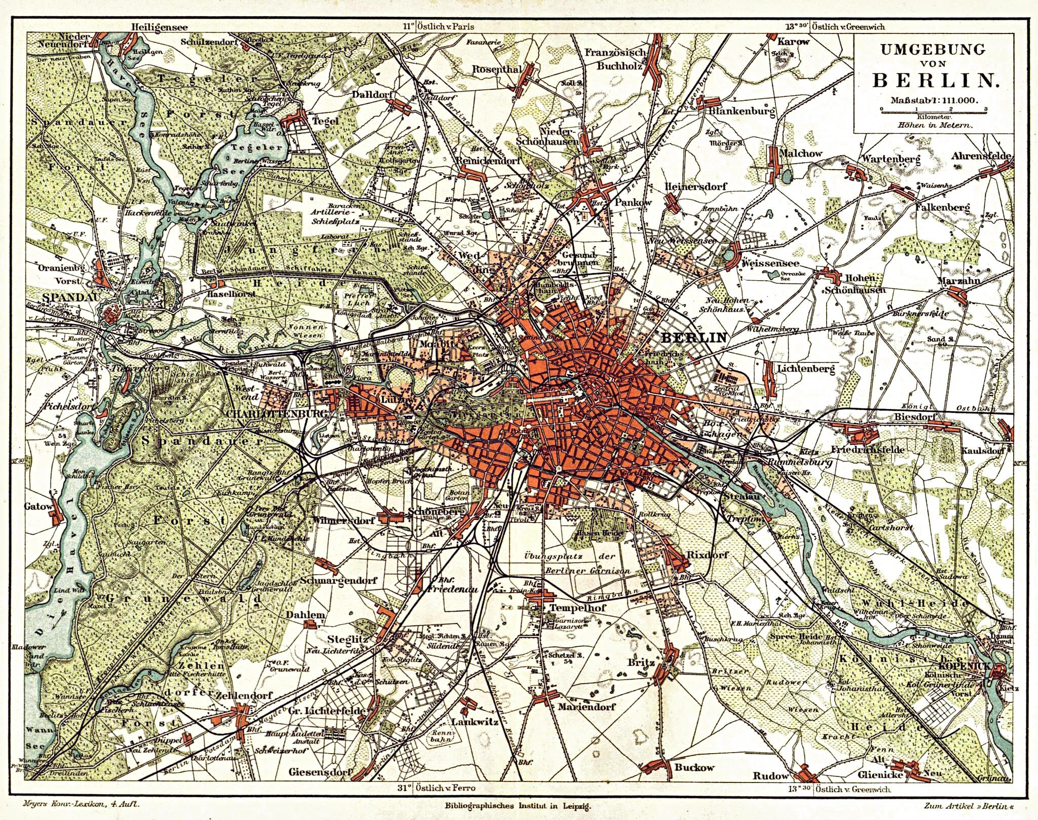 Stadtplan von Berlin aus dem 19. Jahrhundert - Quelle: Wikimedia