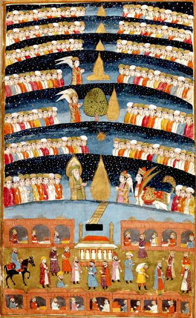 "An artist's representation of ""Muhammed's Paradise"". A Persian miniature from The History of Mohammed, Bibliotheque nationale de France, Paris. Mohammed's Paradise.jpg"