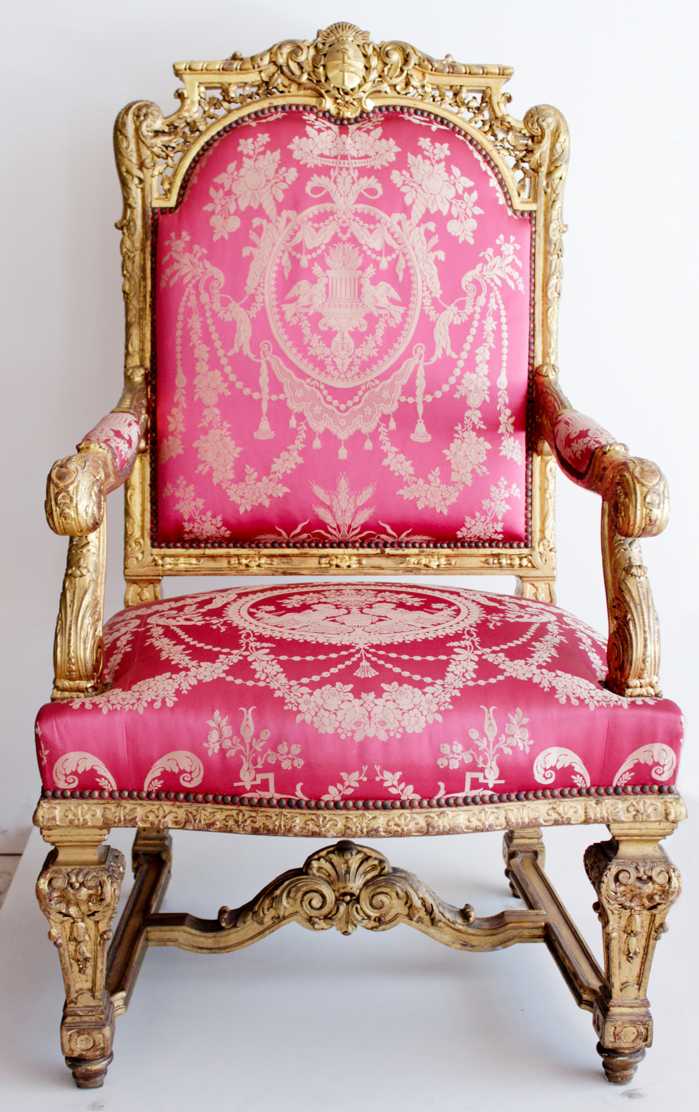 pink and gold brocade chair