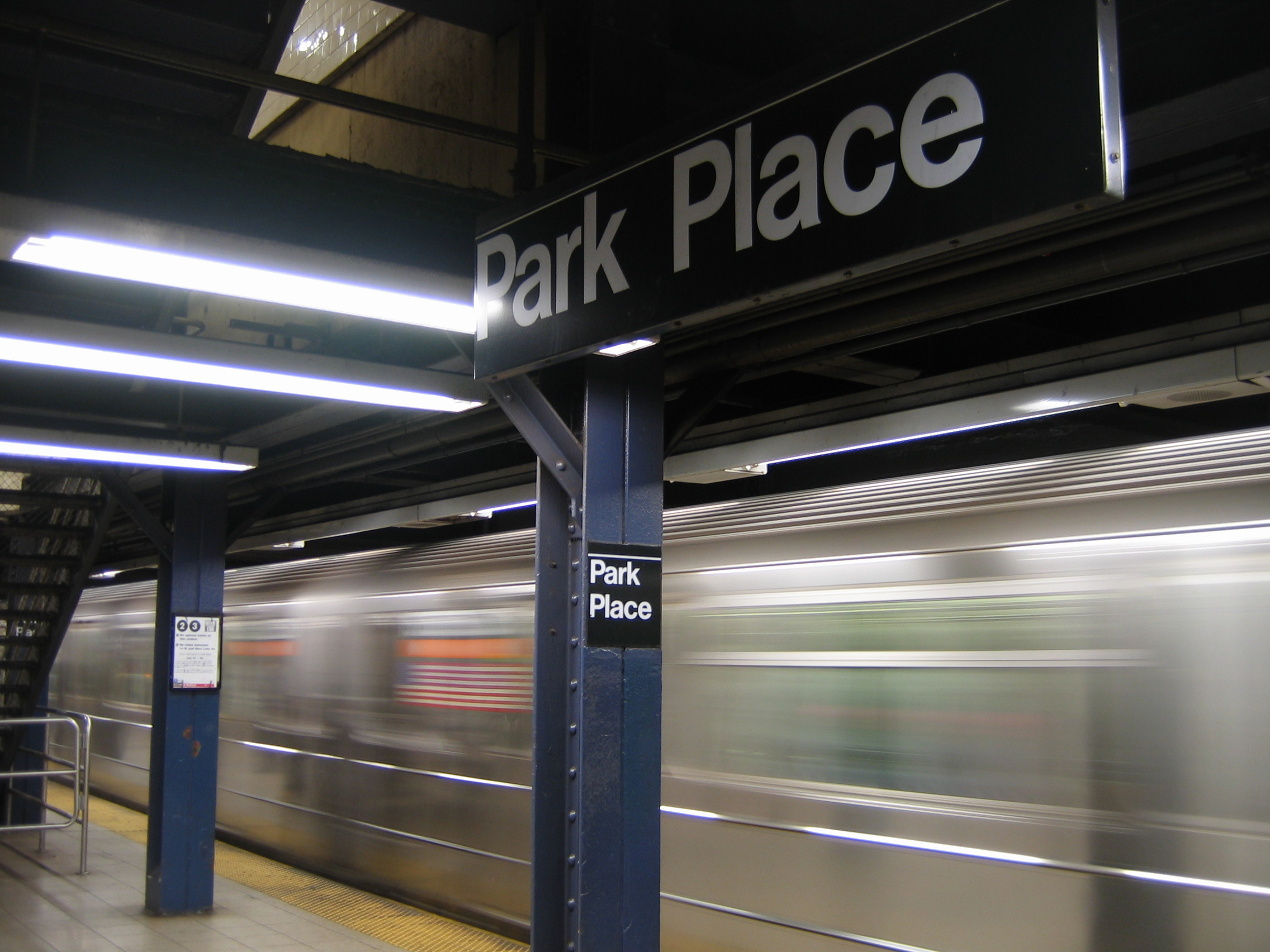 New York City subway, Park Place, http://upload.wikimedia.org/wikipedia/commons/7/7c/Nyc_subway_park_place1.jpg