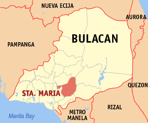 Map of Bulacan showing the location of Santa Maria