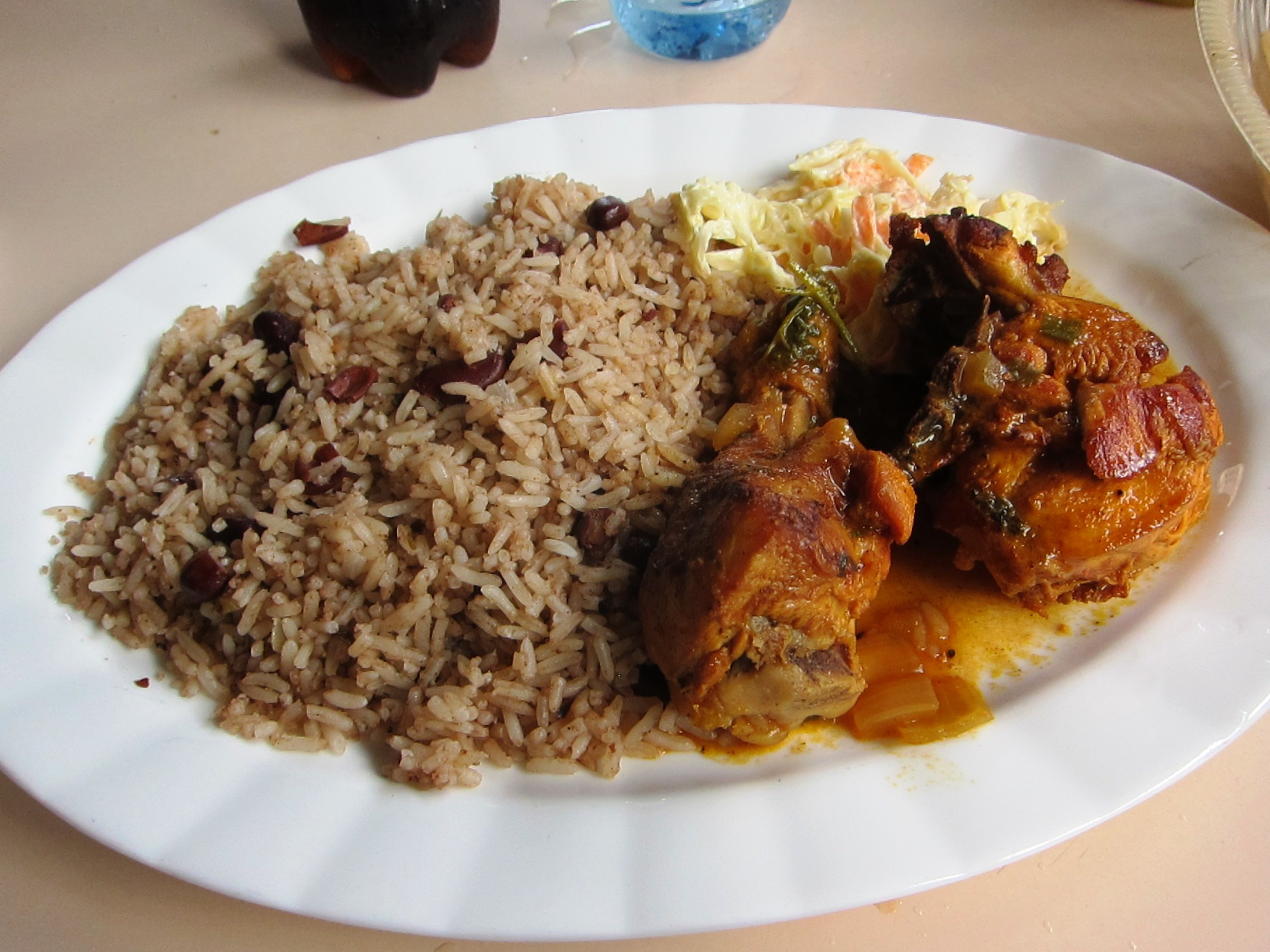Description Rice and Beans, Stew Chicken and Potato Salad - Belize.jpg