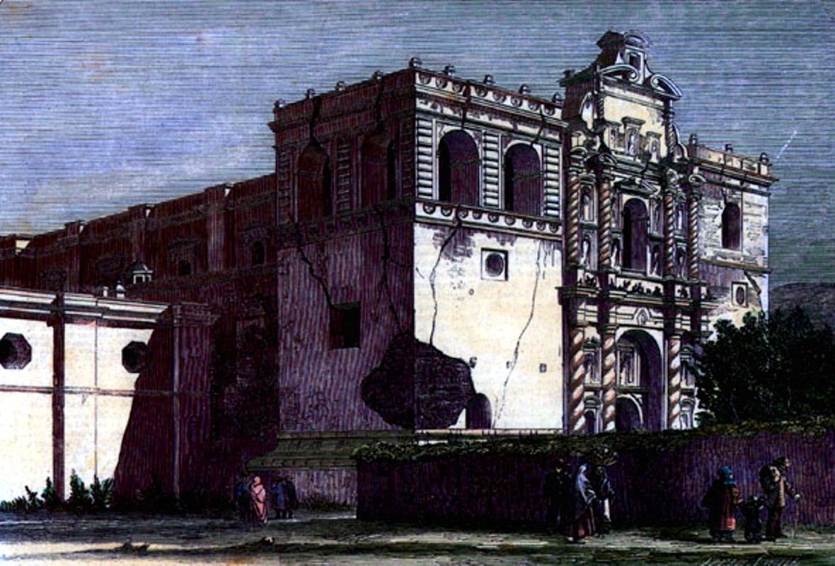San Francisco Church after the 1773 earthquakes; the bell towers collapsed in 1874.