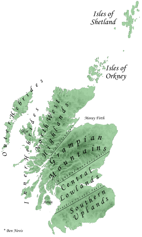 The main geographical divisions of Scotland