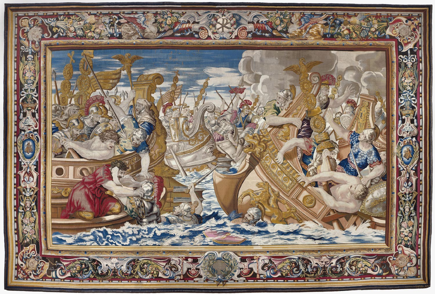 file tapestry showing the sea battle between the fleets of