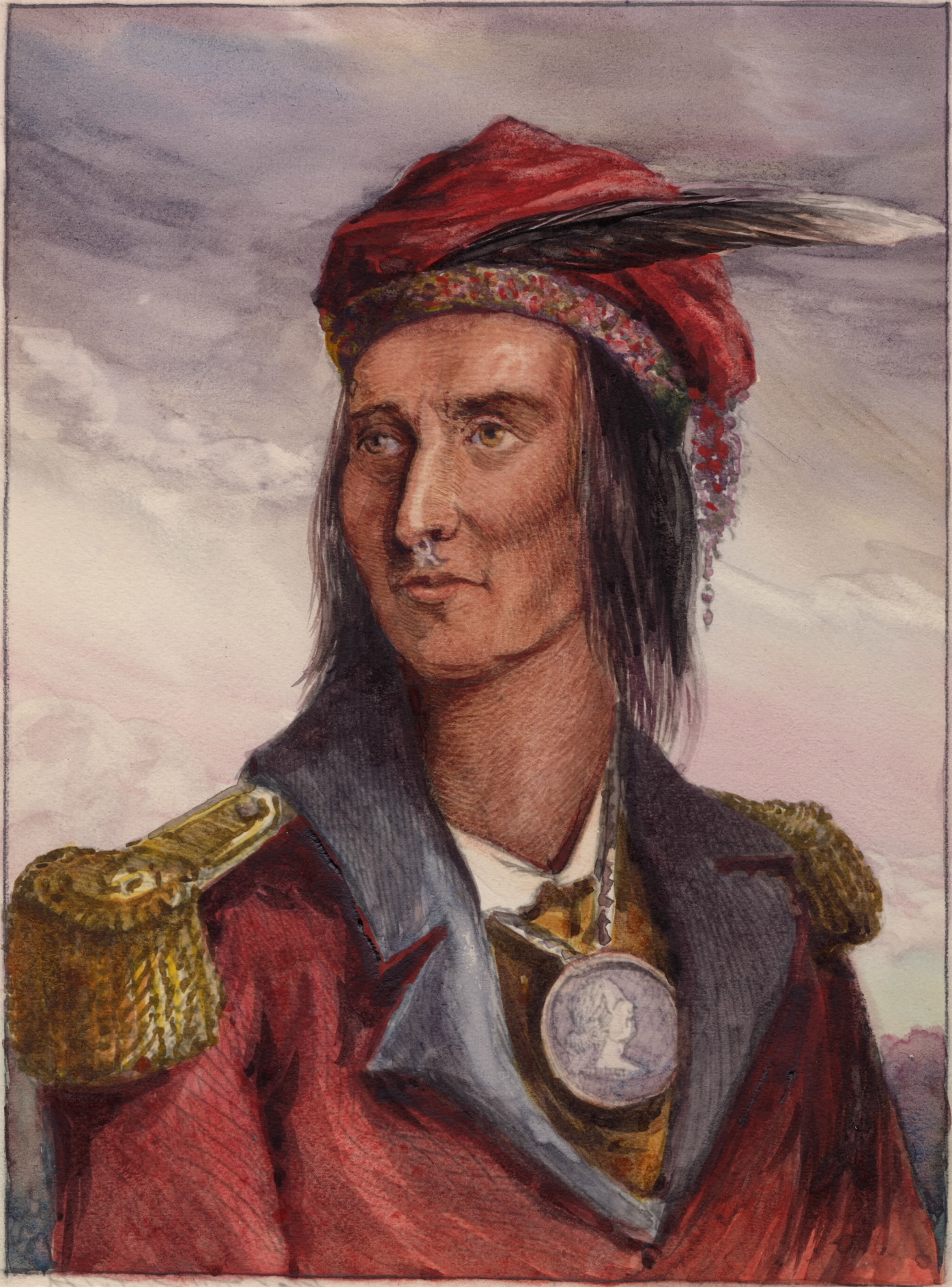 A colored version of Lossing's portrait of Tecumseh. No fully authenticated image of Tecumseh exists