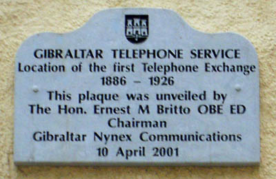 A plaque in City Mill Lane marking the site of Gibraltar's first telephone exchange. Telex1.jpg