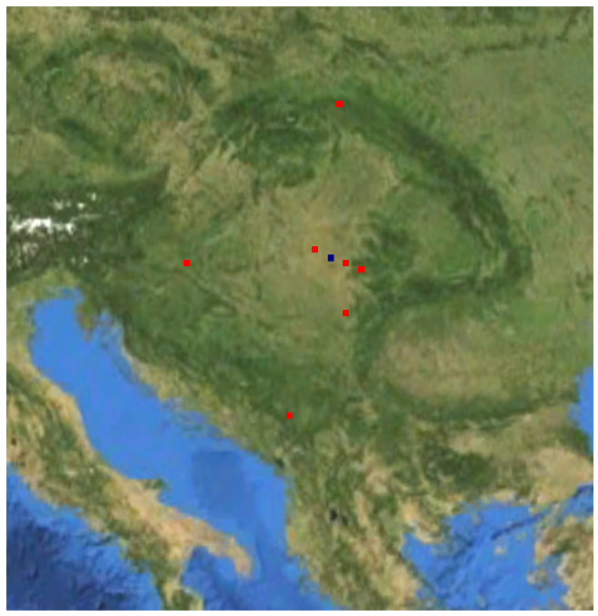 Consecutive places of residence of Tibor Sekelj in Europe, in youth (1912-1939) and after return from South-America (1954-1988) Tibor Sekelj loglokoj en Europo blank.png