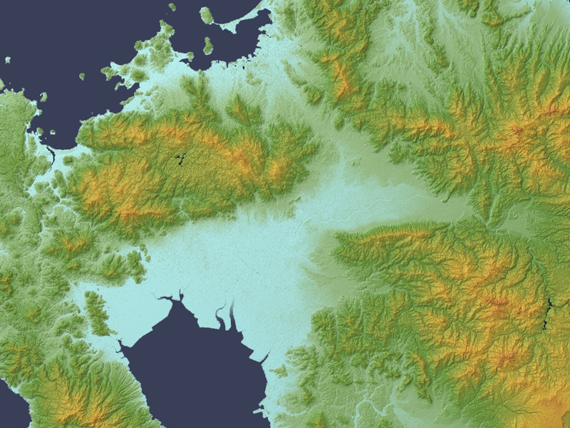 Tsukushi Plain Relief Map, SRTM-1.jpg