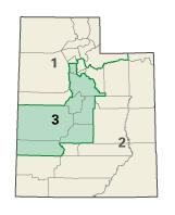 Map of the State of Utah showing the eastern half and southern 10% belonging in Democratic district #2.  The rest is in Republican district's #1 and #3.