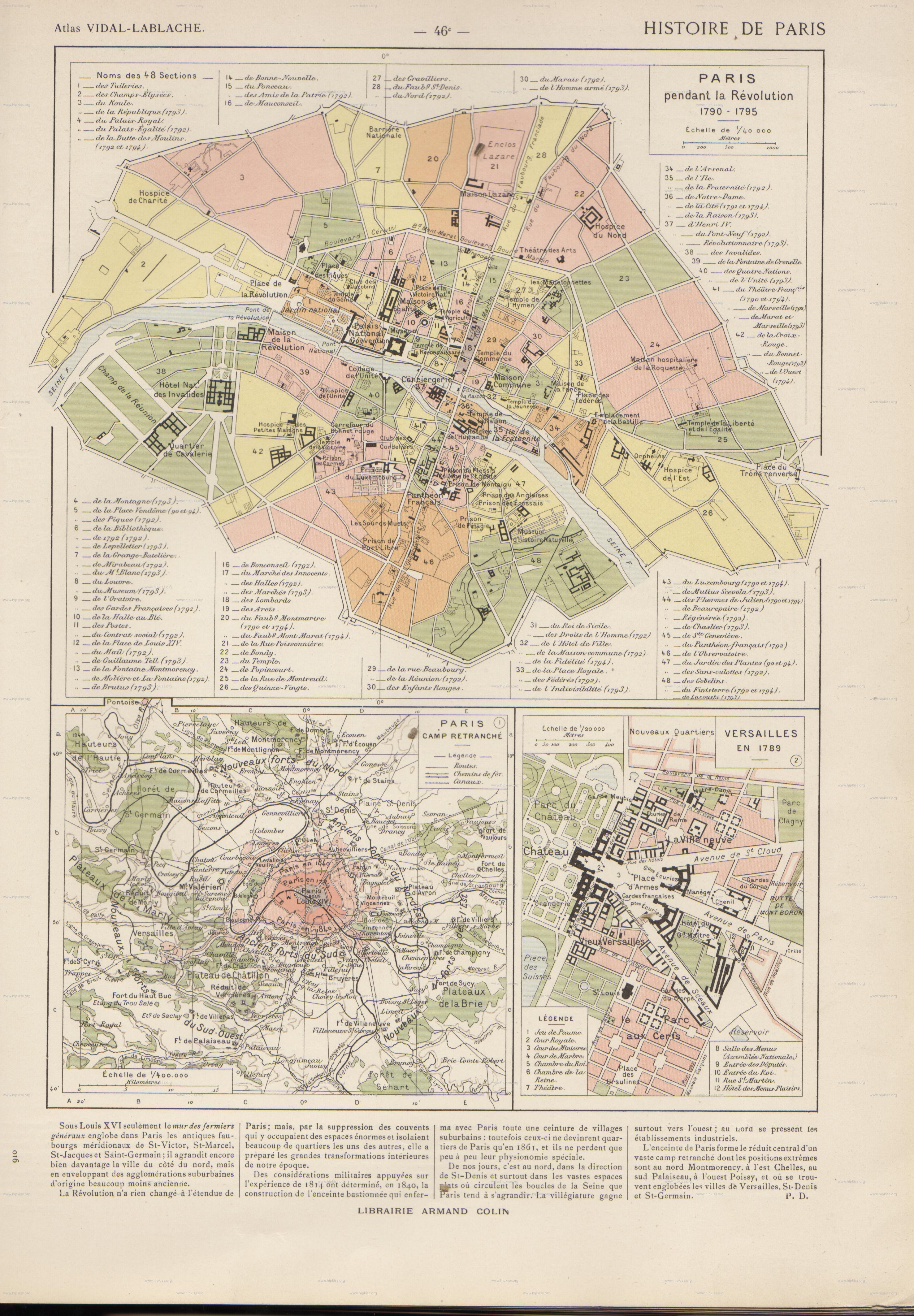 Versailles Paris Map Paris 1795 And Versailles