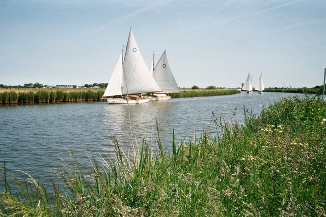 Wherries on the River Bure near Acle - geograph.org.uk - 1052133