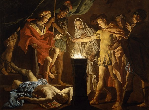 %27Mucius Scaevola in the Presence of Lars Porsenna%27, oil on canvas painting by Matthias Stomer, early 1640s, Art Gallery of New South Wales.jpg