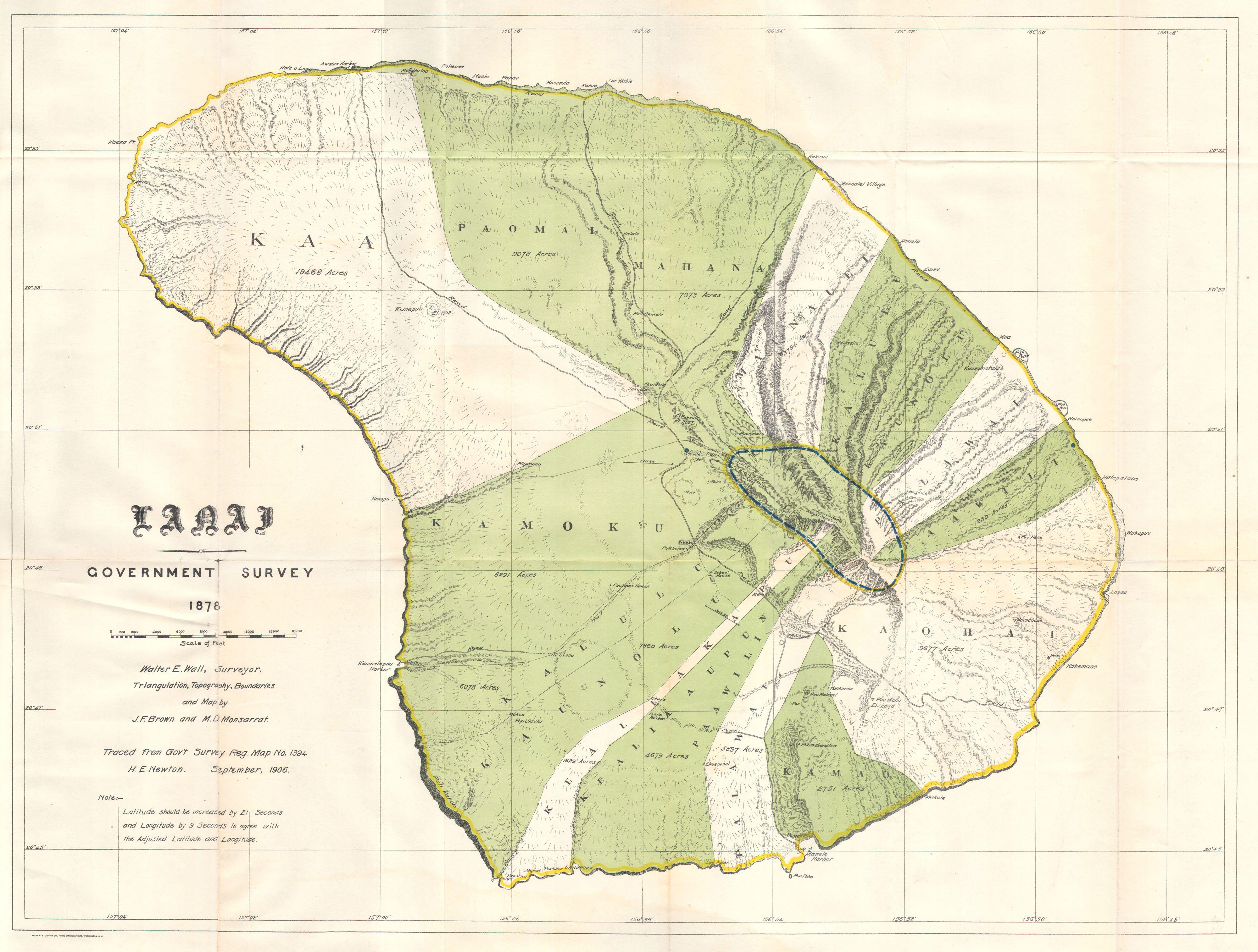 File1878 Government Land Office Map Of Lanai Hawaii