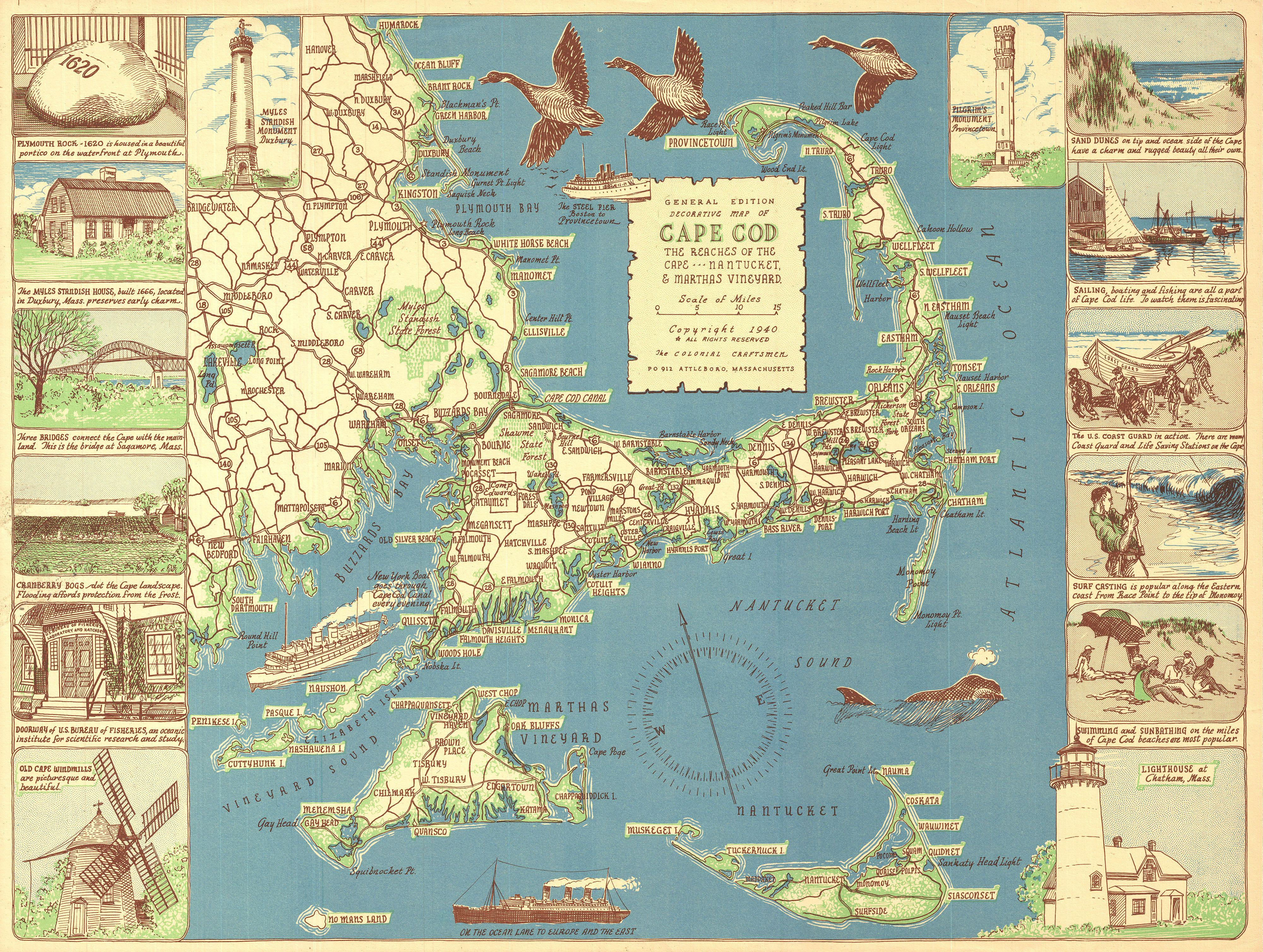 Colonial Craftsman Decorative Map Of Cape Cod Massachusetts Geographicus Capecod Colonial