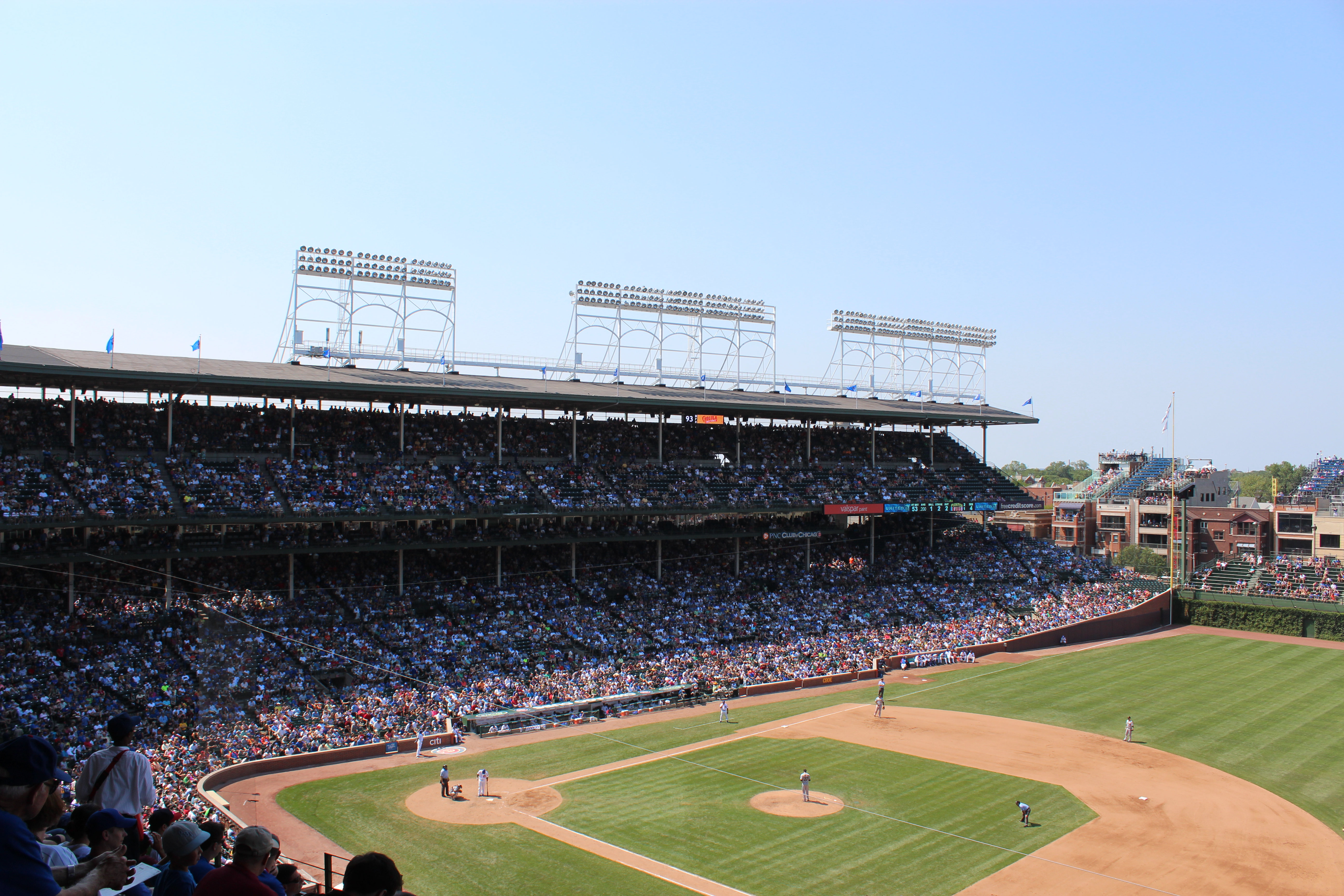 File:20120801 Wrigley Field with Ron Santo 10 flags on the